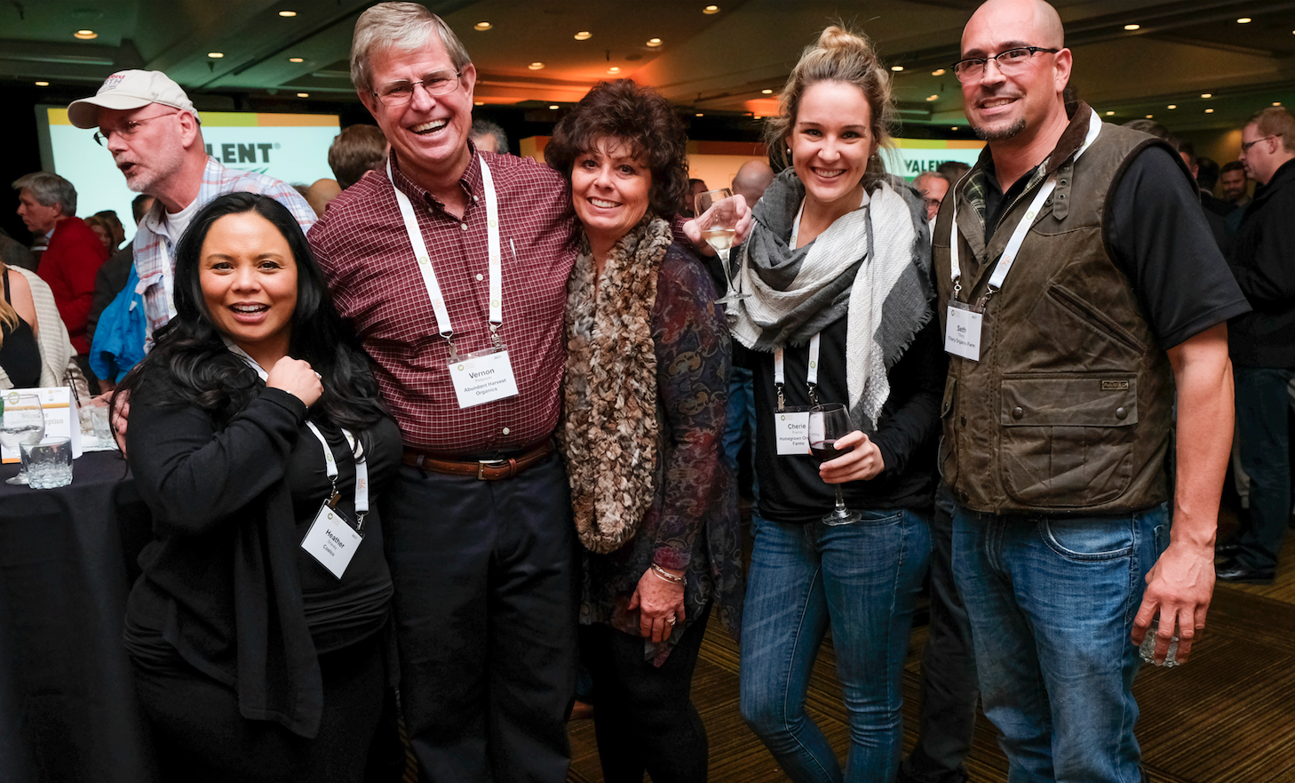 OGS Opening Reception, (from left to right) Heather Shavey - Costco, Vernon Peterson - Grower of the Year, Carol Peterson - Peterson Family Farms and Abundant Harvest Organic, Cherie France - Homegrown Organic Farms, Seth Tillery - Tillery Organic Farms